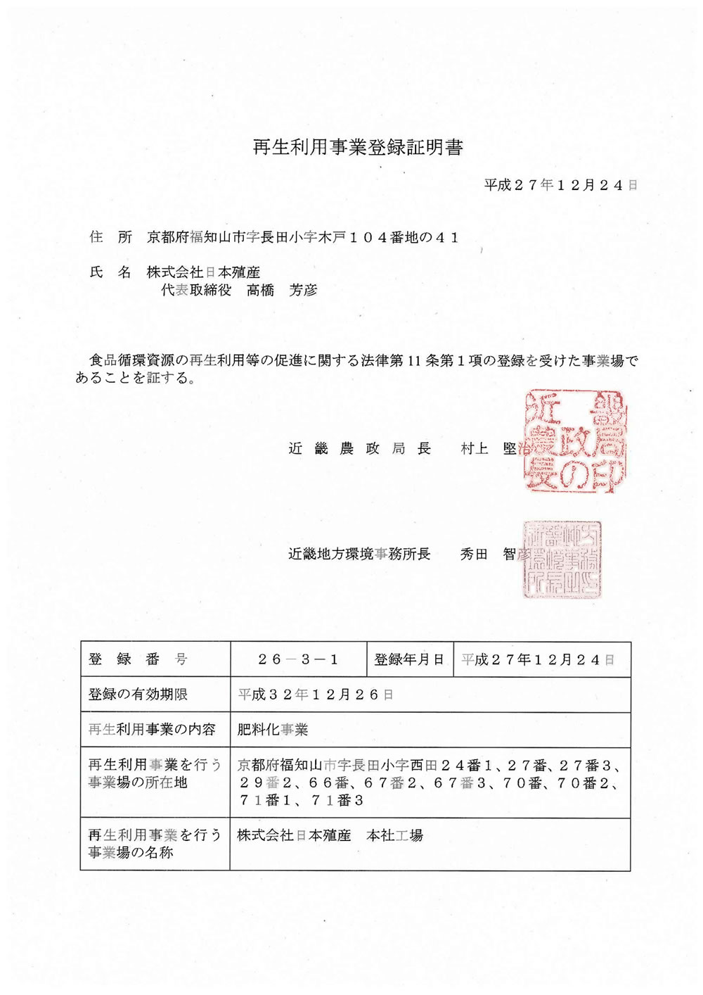 再生利用事業登録証明書